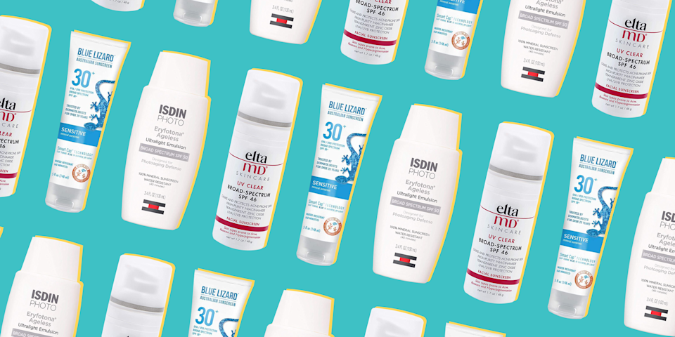"""<p>By now, you know the importance of applying (and re-applying) <a href=""""https://www.prevention.com/beauty/skin-care/g20174383/best-sunscreens/"""" rel=""""nofollow noopener"""" target=""""_blank"""" data-ylk=""""slk:sunscreen"""" class=""""link rapid-noclick-resp"""">sunscreen</a>. Doing so protects your skin from the sun's harmful UV rays, which can cause <a href=""""https://www.prevention.com/health/a27197090/sunburn-peeling-skin/"""" rel=""""nofollow noopener"""" target=""""_blank"""" data-ylk=""""slk:damaging burns"""" class=""""link rapid-noclick-resp"""">damaging burns</a>, hyperpigmentation, <a href=""""https://www.prevention.com/beauty/skin-care/a28167400/how-to-get-rid-of-age-spots/"""" rel=""""nofollow noopener"""" target=""""_blank"""" data-ylk=""""slk:brown spots"""" class=""""link rapid-noclick-resp"""">brown spots</a>, premature aging, and <a href=""""https://www.prevention.com/health/g20508591/skin-cancer-signs-that-arent-moles/"""" rel=""""nofollow noopener"""" target=""""_blank"""" data-ylk=""""slk:skin cancer"""" class=""""link rapid-noclick-resp"""">skin cancer</a>.</p><p>But if you <a href=""""https://www.prevention.com/beauty/skin-care/g26143944/moisturizer-for-sensitive-skin/"""" rel=""""nofollow noopener"""" target=""""_blank"""" data-ylk=""""slk:have sensitive skin"""" class=""""link rapid-noclick-resp"""">have sensitive skin</a> that's prone to irritation or breakouts, you may be hesitant to slather sunscreen on your body—<a href=""""https://www.prevention.com/beauty/a20478568/best-sunscreens-for-face/"""" rel=""""nofollow noopener"""" target=""""_blank"""" data-ylk=""""slk:especially your face"""" class=""""link rapid-noclick-resp"""">especially your face</a>. Certain formulas that contain chemical filters, fragrances, preservatives, or essential oils and other extracts can aggravate a delicate complexion, says <a href=""""https://www.mdcsnyc.com/provider/marisa-k-garshick-md"""" rel=""""nofollow noopener"""" target=""""_blank"""" data-ylk=""""slk:Marisa Garshick, M.D."""" class=""""link rapid-noclick-resp"""">Marisa Garshick, M.D.</a>, a dermatologist at Medical Dermatology & Cosmetic Surgery (MDCS) in New York. This can present as redness,"""