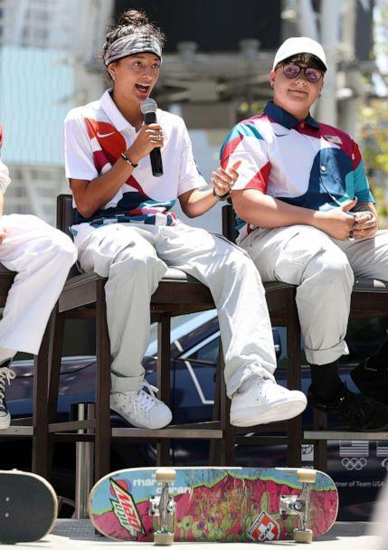 PHOTO: Mariah Duran speaks during United States Olympic Skateboarding Team Announcement at L.A. LIVE, June 21, 2021, in Los Angeles. (Ronald Martinez/Getty Images)