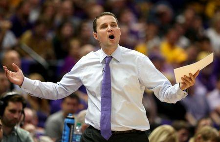 FILE PHOTO: Feb 23, 2019; Baton Rouge, LA, USA; LSU Tigers head coach Will Wade gestures in the first half of their game against the Tennessee Volunteers at the Maravich Assembly Center. Chuck Cook/File Photo