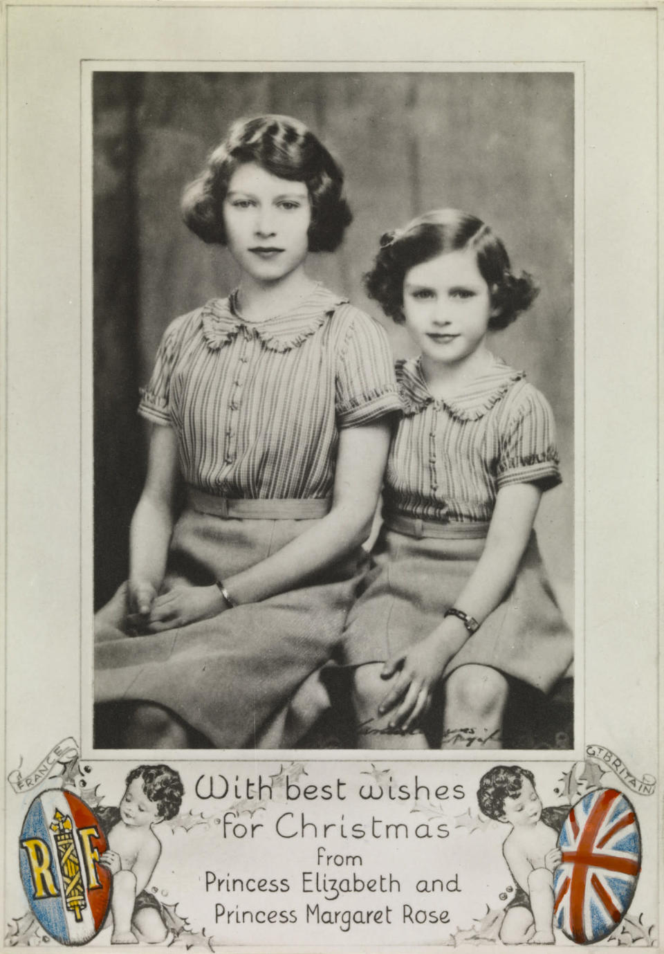 Portrait photograph of Princess Elizabeth and Princess Margaret as a Christmas card, 1939 (Royal Collection Trust / © Her Majesty Queen Elizabeth II 2018)