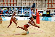 """<p>Most beach volleyball athletes prefer to go barefoot during competition in order to help with their mobility in the sand. Lucky for them, there's <a href=""""https://www.groupon.com/articles/beach-volleyball-tips"""" rel=""""nofollow noopener"""" target=""""_blank"""" data-ylk=""""slk:no mandatory policy"""" class=""""link rapid-noclick-resp"""">no mandatory policy</a> for athletes to wear footwear during matches at the Olympics.</p>"""