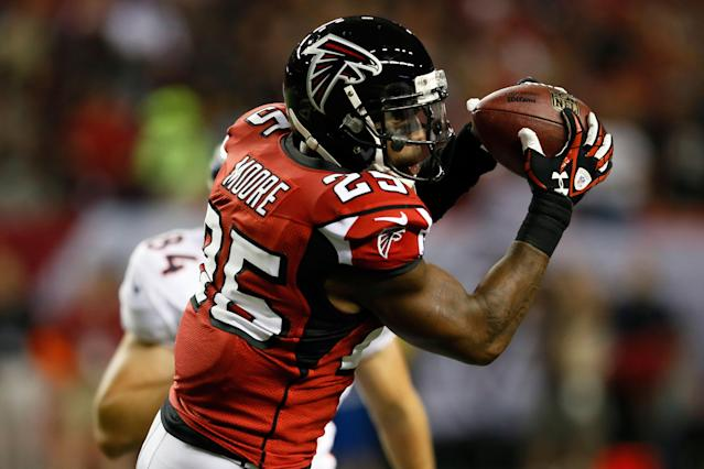 ATLANTA, GA - SEPTEMBER 17: Strong safety William Moore #25 of the Atlanta Falcons intercepts a pass intended for tight end Jacob Tamme #84 of the Denver Broncos during a game at the Georgia Dome on September 17, 2012 in Atlanta, Georgia. (Photo by Kevin C. Cox/Getty Images)