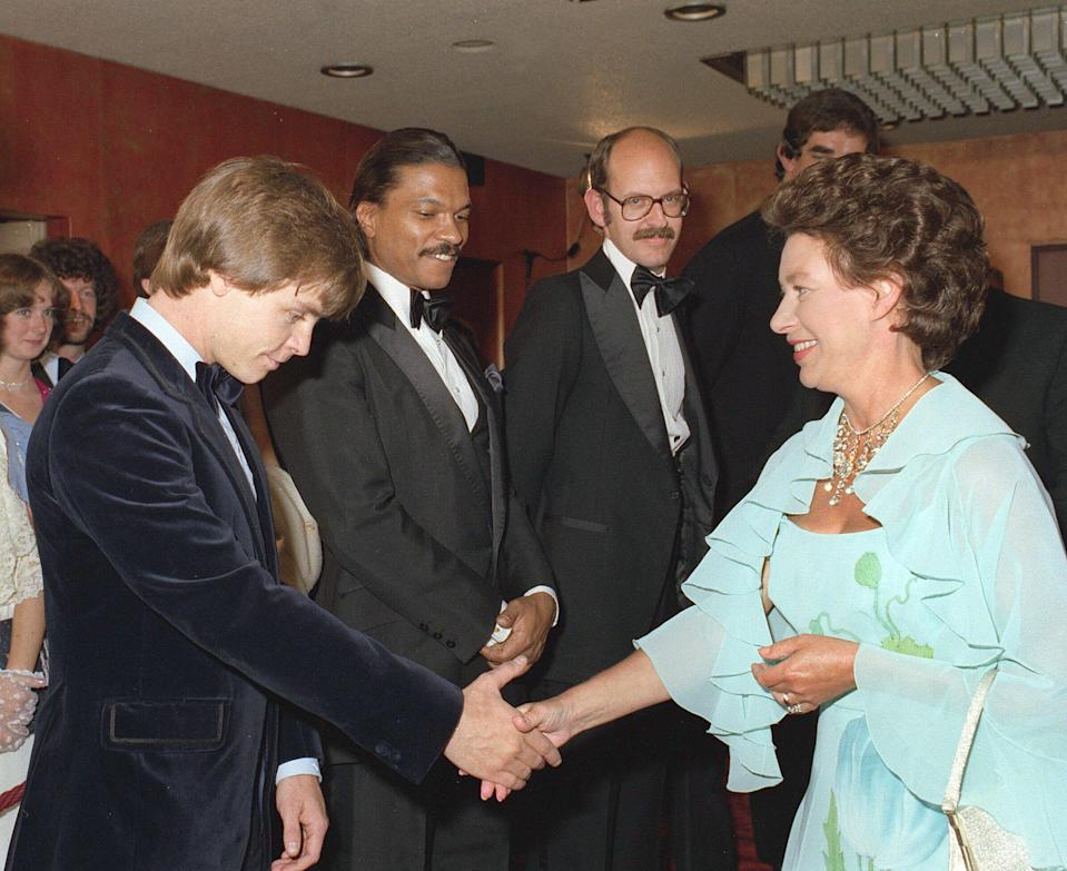 Hamill kept his head down while greeting Princess Margaret. (Photo: Rex/Shutterstock)