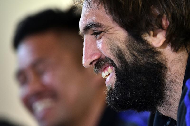 New Zealand's lock Sam Whitelock (R) at a press conference during the Rugby World Cup 2015