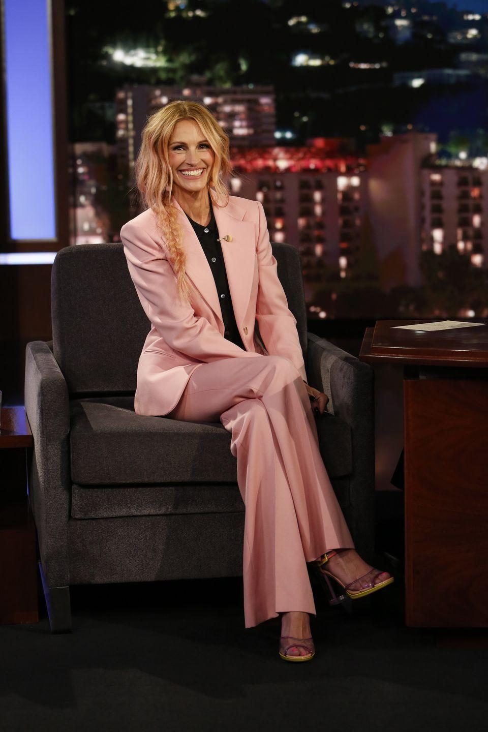 """<p>There's no hair color that <strong>Julia Roberts</strong> can't pull off. Here, she matched her blonde locks to her suit by tinting them peach. This subtle ombré is accentuated with mussed-up waves and an undone braid. </p><p><a class=""""link rapid-noclick-resp"""" href=""""https://go.redirectingat.com?id=74968X1596630&url=https%3A%2F%2Fwww.ulta.com%2Funicorn-hair-semi-permanent-hair-color-tint%3FproductId%3DxlsImpprod17601165&sref=https%3A%2F%2Fwww.goodhousekeeping.com%2Fbeauty%2Fhair%2Fg35154692%2Fpeach-hair-color-ideas%2F"""" rel=""""nofollow noopener"""" target=""""_blank"""" data-ylk=""""slk:SHOP PEACH TINT"""">SHOP PEACH TINT</a></p>"""