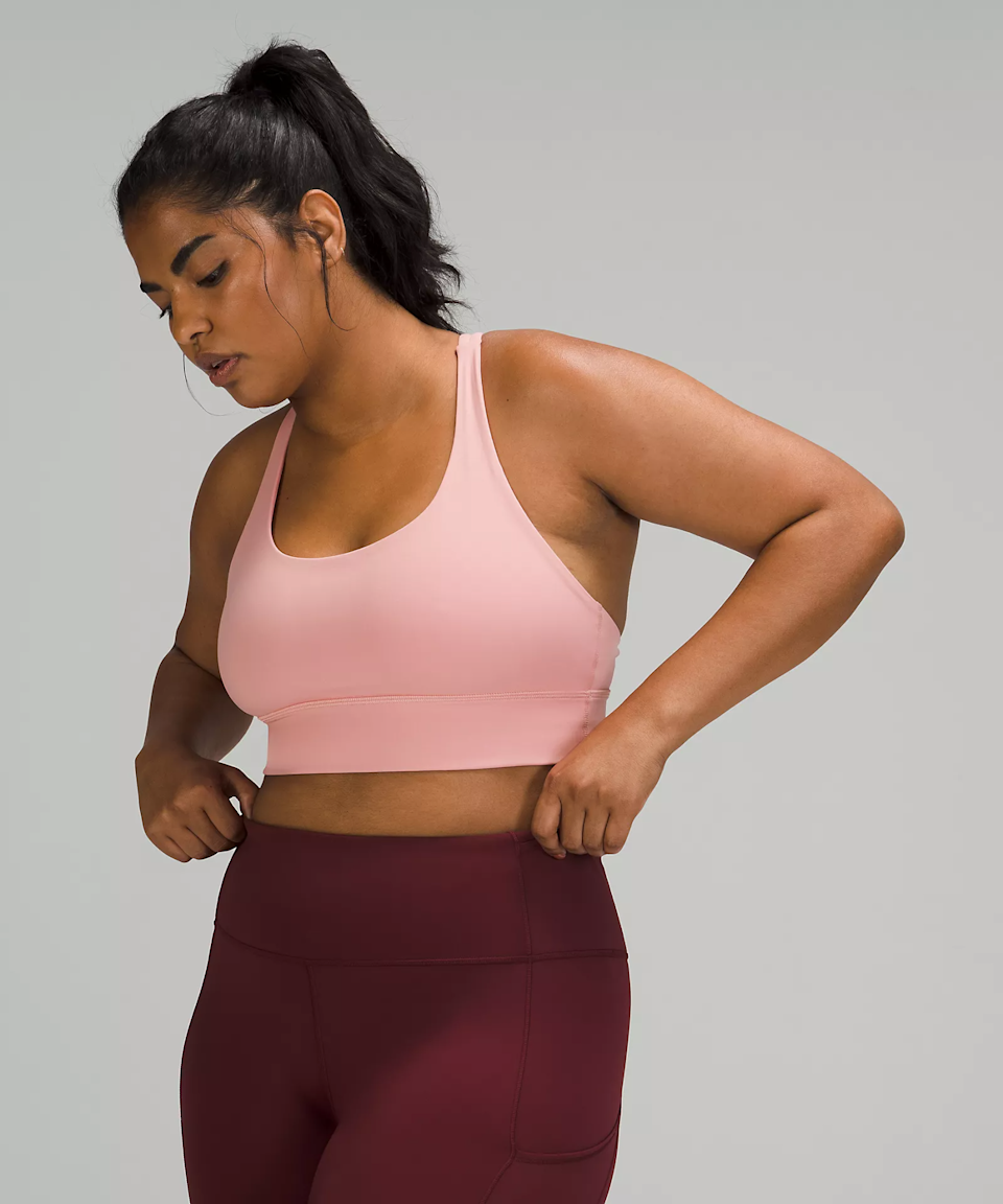 """<h3><strong>Lululemon</strong></h3><br>Although this bra is technically classified as """"medium support,"""" it does well in high-impact situations, such as jogging or <a href=""""https://www.refinery29.com/en-us/cardio-hiit-workout-challenge"""" rel=""""nofollow noopener"""" target=""""_blank"""" data-ylk=""""slk:HIIT classes"""" class=""""link rapid-noclick-resp"""">HIIT classes</a>. Some<a href=""""https://shop.lululemon.com/p/women-sports-bras/Energy-Bra-Long-Line/_/prod9030660"""" rel=""""nofollow noopener"""" target=""""_blank"""" data-ylk=""""slk:reviewers say"""" class=""""link rapid-noclick-resp""""> reviewers say</a> it's more supportive than you'd expect, and that it offers full coverage.<br><br><strong>Lululemon</strong> Energy Bra Long Line, $, available at <a href=""""https://go.skimresources.com/?id=30283X879131&url=https%3A%2F%2Fshop.lululemon.com%2Fp%2Fwomen-sports-bras%2FEnergy-Bra-Long-Line%2F_%2Fprod9030660"""" rel=""""nofollow noopener"""" target=""""_blank"""" data-ylk=""""slk:Lululemon"""" class=""""link rapid-noclick-resp"""">Lululemon</a>"""