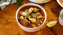 """<p>Frying the tortilla strips are optional...but also *highly recommended. SO GOOD. </p><p>Get the recipe from <a href=""""https://www.delish.com/cooking/recipe-ideas/a26424646/tex-mex-meatball-soup-recipe/"""" rel=""""nofollow noopener"""" target=""""_blank"""" data-ylk=""""slk:Delish"""" class=""""link rapid-noclick-resp"""">Delish</a>.</p>"""