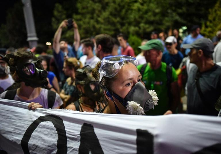 Demonstrators wore gas masks at Saturday's protest, which came exactly a year after a violent crackdown by security forces on another anti-goverment rally (AFP Photo/Daniel MIHAILESCU)