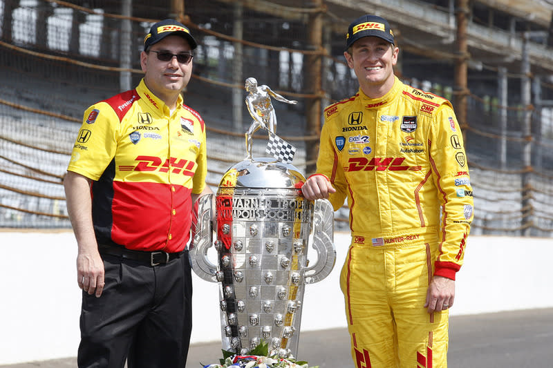 """Ryan Hunter-Reay and race engineer Ray Gosselin pictured with the author of this story ;-) <span class=""""copyright"""">Phillip Abbott / Motorsport Images</span>"""