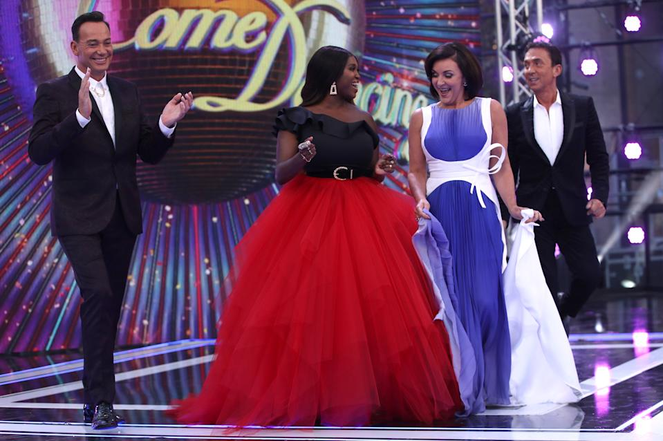 """LONDON, ENGLAND - AUGUST 26:  Judges (L-R) Craig Revel Horwood, Motsi Mabuse, Shirley Ballas and Bruno Tonioli attend the """"Strictly Come Dancing"""" launch show red carpet at Television Centre on August 26, 2019 in London, England. (Photo by Mike Marsland/WireImage)"""