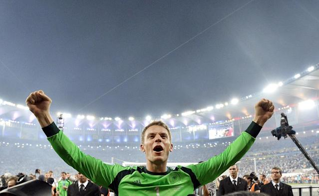 10ThingstoSeeSports - Germany's goalkeeper Manuel Neuer celebrates after the World Cup final soccer match between Germany and Argentina at the Maracana Stadium in Rio de Janeiro, Brazil, Sunday, July 13, 2014. Germany won the match 1-0. (AP Photo/Martin Meissner, File)