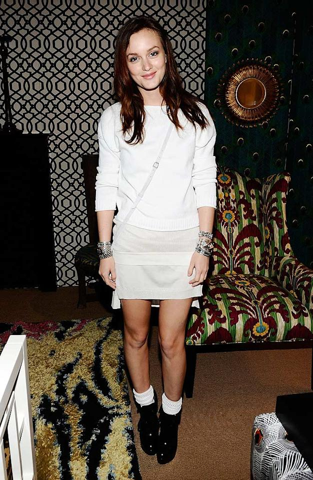 "The woman best known for portraying Blair Waldorf on the small screen strikes again ... this time at Mercedes-Benz Fashion Week in another mess reminiscent of the '90s. Scrunched white socks? With black ankle boots? Really? Michael Buckner/<a href=""http://www.gettyimages.com/"" target=""new"">GettyImages.com</a> - September 12, 2010"