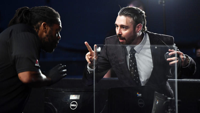 Dan Hardy, pictured here speaking to Herb Dean at UFC Fight Night.