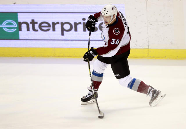 Colorado Avalanche center Carl Soderberg shoots to score a goal during the second period of an NHL hockey game against the Florida Panthers, Thursday, Dec. 6, 2018 in Sunrise, Fla. (AP Photo/Wilfredo Lee)