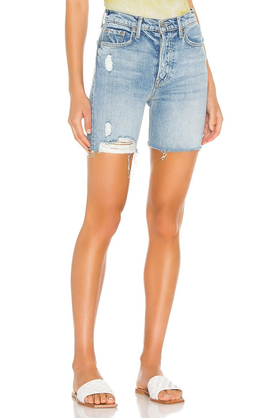 "<p>These <a href=""https://www.popsugar.com/buy/Grlfrnd-Riley-Shorts-587730?p_name=Grlfrnd%20Riley%20Shorts&retailer=revolve.com&pid=587730&price=158&evar1=fab%3Aus&evar9=45988379&evar98=https%3A%2F%2Fwww.popsugar.com%2Ffashion%2Fphoto-gallery%2F45988379%2Fimage%2F47603866%2FGrlfrnd-Riley-Short&list1=shopping%2Cdenim%2Cshorts%2Csummer%2Cdenim%20shorts%2Csummer%20fashion&prop13=mobile&pdata=1"" class=""link rapid-noclick-resp"" rel=""nofollow noopener"" target=""_blank"" data-ylk=""slk:Grlfrnd Riley Shorts"">Grlfrnd Riley Shorts</a> ($158) are what we want to wear on weekends.</p>"