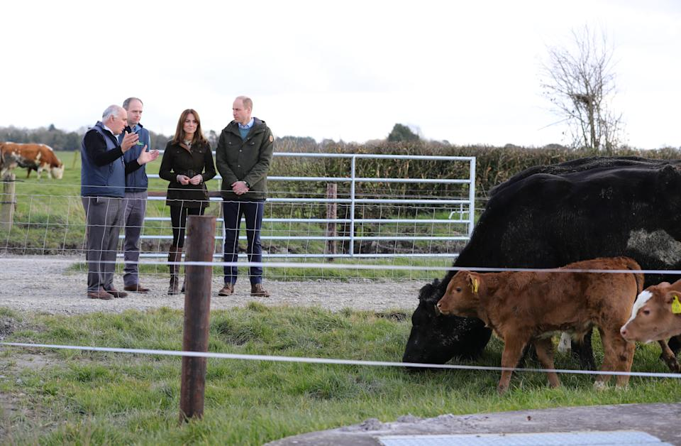 The Duke and Duchess of Cambridge during a visit to the Teagasc Animal & Grassland Research Centre at Grange, in County Meath, as part of their three day visit to the Republic of Ireland.
