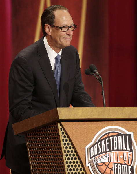 Inductee Russ Granik speaks during the enshrinement ceremony for the 2013 class of the Naismith Memorial Basketball Hall of Fame at Symphony Hall in Springfield, Mass., Sunday, Sept. 8, 2013. (AP Photo/Steven Senne)