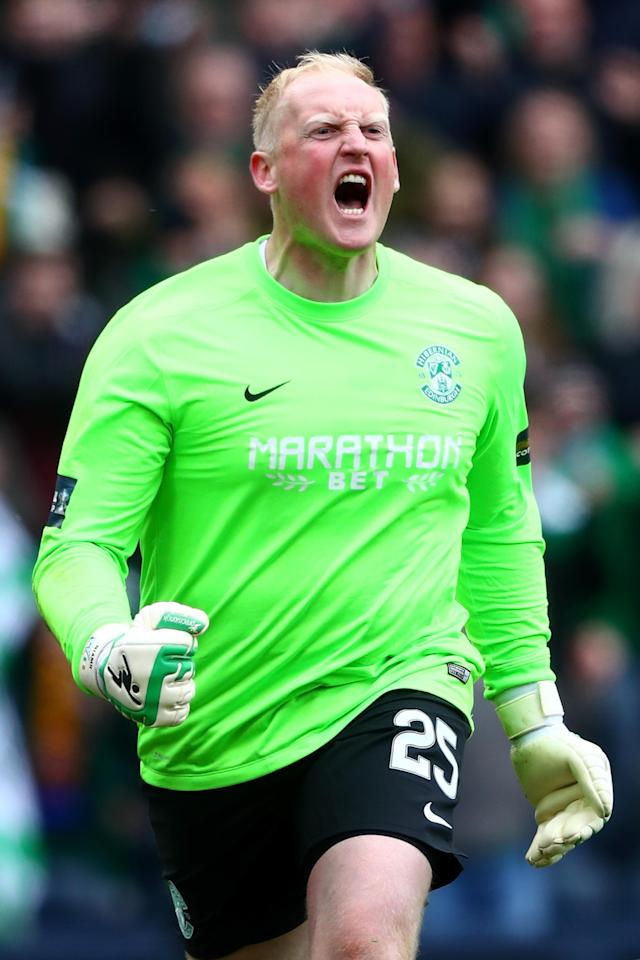 GLASGOW, SCOTLAND - APRIL 16: Conrad Logan of Hibernian celebrates as Hibernian win the Scottish Cup Semi Final between Hibernian and Dundee United at Hampden Park on April 16, 2016 in Glasgow, Scotland. (Photo by Clive Rosel/Getty) (Photo by Clive Rose/Getty Images)