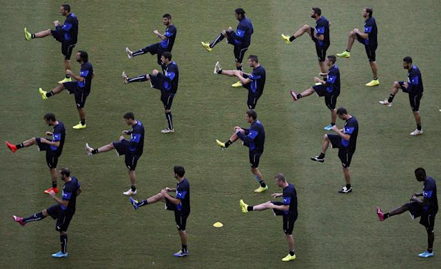 Italy's national soccer players attend training session at the Dunas Arena soccer stadium in Natal, June 23, 2014. REUTERS/Carlos Barria (BRAZIL - Tags: SOCCER SPORT WORLD CUP)