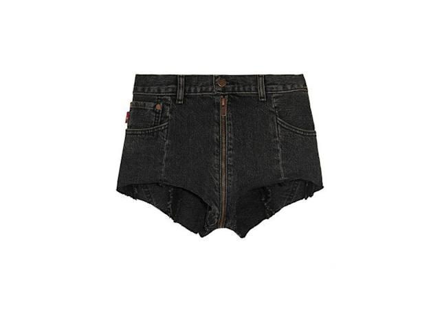 "Vetements X Levis Distressed Denim Shorts, $1,000, <a href=""https://www.net-a-porter.com/us/en/product/821174/vetements/--levi-s-distressed-denim-shorts"" rel=""nofollow noopener"" target=""_blank"" data-ylk=""slk:www.Net-a-Porter.com"" class=""link rapid-noclick-resp""> www.Net-a-Porter.com</a>"