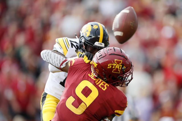Iowa defensive back D.J. Johnson breaks up a pass intended for Iowa State wide receiver Joseph Scates (9) during the first half of an NCAA college football game, Saturday, Sept. 14, 2019, in Ames, Iowa. (AP Photo/Charlie Neibergall)