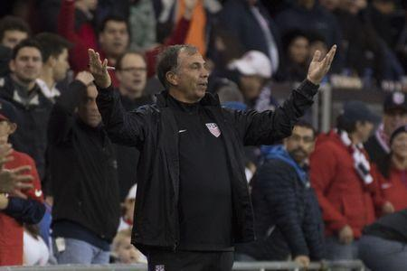 March 24, 2017; San Jose, CA, USA; United States head coach Bruce Arena reacts against the Honduras during the first half of the Men's World Cup Soccer Qualifier at Avaya Stadium. Mandatory Credit: Kyle Terada-USA TODAY Sports