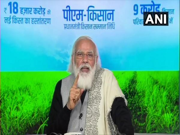 PM Narendra Modi addressing farmers on Friday via video conferencing.
