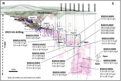 Figure 1 - Wassa Underground: Isometric view looking east showing significant results of both step out and extension drilling programs (CNW Group/Golden Star Resources Ltd.)