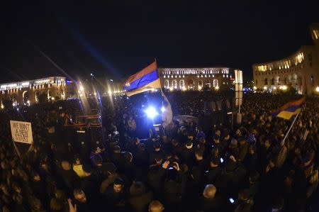 Demonstrations in Armenia after power grab by leader