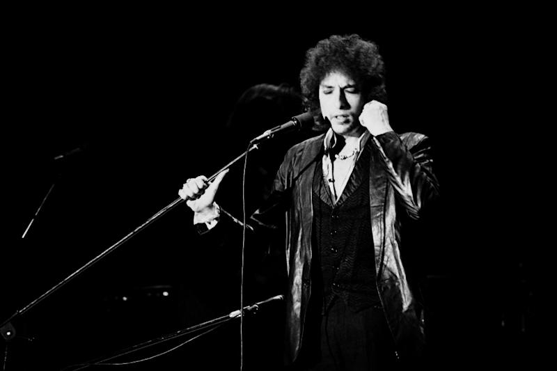 Bob Dylan pictured at a concert in Paris in 1978 (AFP Photo/PIERRE GUILLAUD)
