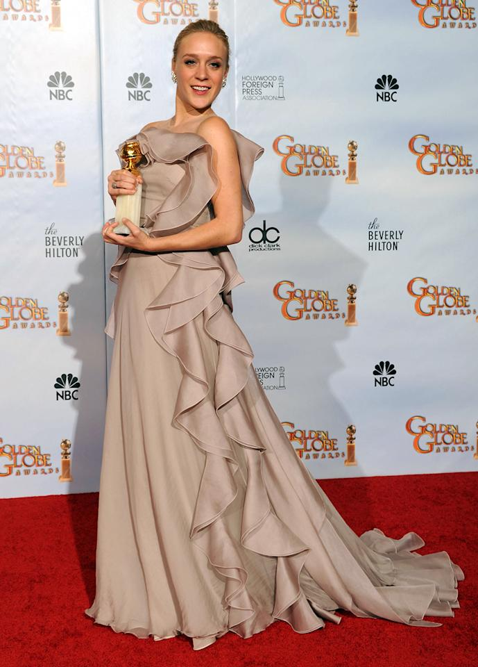 """When you consider the amount of jostling on crowded red carpets, it's a surprise there aren't more wardrobe malfunctions at award shows. """"Big Love"""" star Chloe Sevigny fell victim to a rare one at the 2010 Golden Globes when going to accept her award for Best Supporting Actress. The usher helping her onto the stage accidentally stepped on the train of her dress, tearing it and eliciting a loud gasp from Sevigny. She momentarily composed herself to begin her thank-yous, but made time to tell her escort, """"I can't believe you just ripped my dress!"""""""