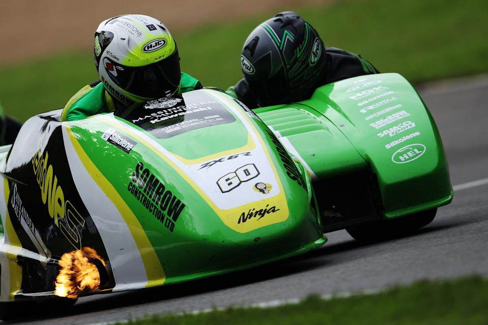 LONGFIELD, ENGLAND - OCTOBER 18: Ben Holland and Tom Christie of Kawasaki Team WPS compete in the Santander Salt International Sidecar Superprix + Molson Group British Sidecars race at Brands Hatch on October 18, 2020 in Longfield, England. (Photo by Ker Robertson/Getty Images)