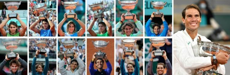 Thirteen of the best: This combination of pictures shows Rafael Nadal posing with the Mousquetaires Cup during his 13 victories at the French Open