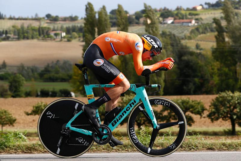 IMOLA ITALY SEPTEMBER 25 Tom Dumoulin of The Netherlands during the 93rd UCI Road World Championships 2020 Men Elite Individual Time Trial a 317km race from Imola to Imola Autodromo Enzo e Dino Ferrari ITT ImolaEr2020 Imola2020 on September 25 2020 in Imola Italy Photo by Bas CzerwinskiGetty Images