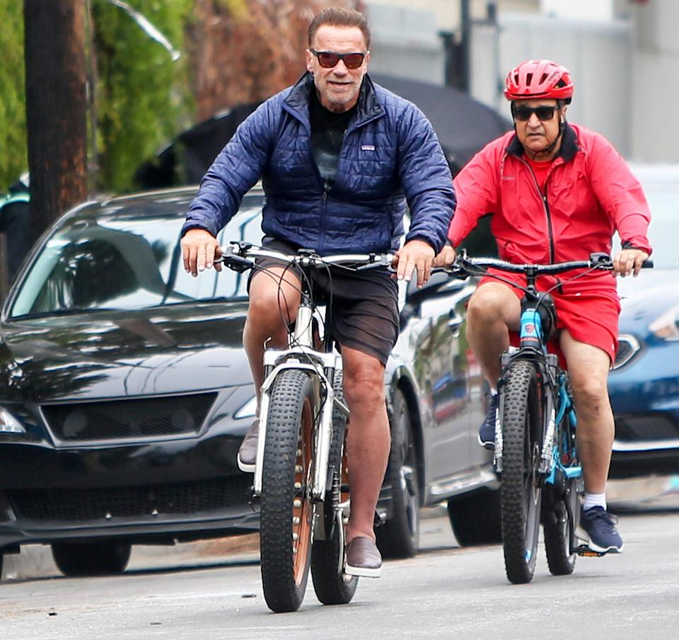 <p>Arnold Schwarzenegger is spotted enjoying a cruiser bicycle outing with friends in Los Angeles.</p>