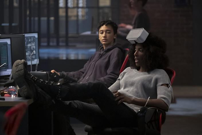 "Andy Allo as Nora and Zainab Johnson as Aleesha are co-workers at a virtual afterlife company in Greg Daniels' comedy ""Upload."" <span class=""copyright"">(Katie Yu/Amazon Studios, Prime Video)</span>"