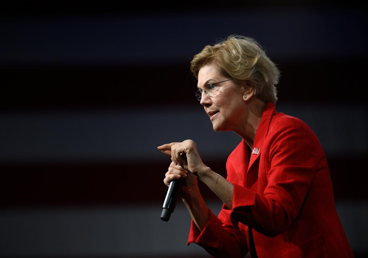 "Democratic presidential candidate Sen. Elizabeth Warren (D-Mass.) at a forum in Des Moines, Iowa, on Aug. 10. She has backed ""Medicare for All."" (Photo: Stephen Maturen/Getty Images)"