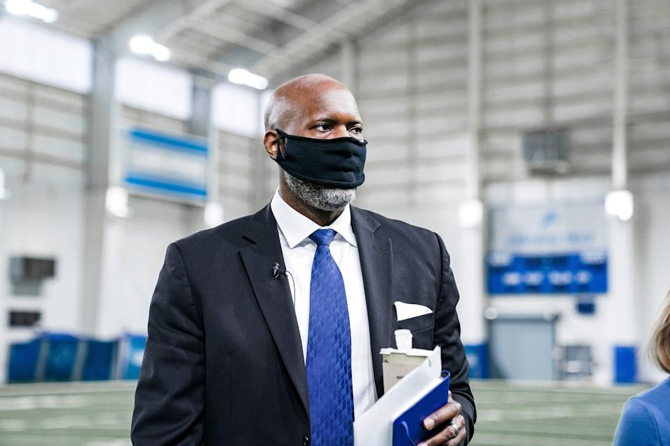 Detroit Lions general manager Brad Holmes walks around the indoor practice field at the team's facility Jan. 19, 2021 in Allen Park.