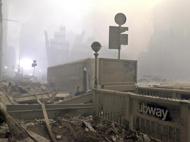 <p>A destroyed subway station on Cortlandt Street near the World Trade Center on the evening of Sept. 12, 2001. (Photo: Mark Lennihan/AP) </p>