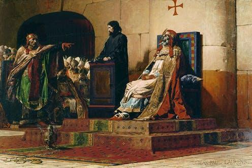"""<span class=""""caption"""">The Cadaver Synod (897): Seven months after his death, the corpse of Pope Formosus was found guilty of perjury.</span> <span class=""""attribution""""><span class=""""source"""">Jean-Paul Laurens (1870) via Britannica</span></span>"""