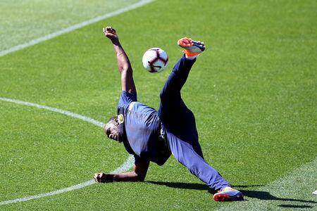 Eight-time Olympic sprinting gold medalist Usain Bolt takes part in his first training session with the Central Coast Mariners at Central Coast Stadium in Gosford, Australia, August 21, 2018. AAP/Dan Himbrechts/via REUTERS