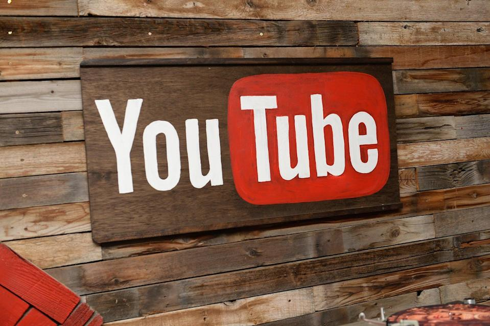 The YouTube logo is seen as the