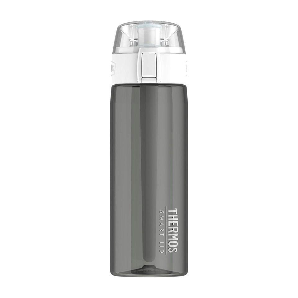 "<p><strong>THERMOS</strong></p><p>amazon.com</p><p><strong>$39.40</strong></p><p><a href=""https://www.amazon.com/dp/B00ZQUNHO0?tag=syn-yahoo-20&ascsubtag=%5Bartid%7C2139.g.36063900%5Bsrc%7Cyahoo-us"" rel=""nofollow noopener"" target=""_blank"" data-ylk=""slk:BUY IT HERE"" class=""link rapid-noclick-resp"">BUY IT HERE</a></p><p>Thermos isn't new to the hydration game, but the classic reusable water bottle brand has now stepped into the tech space. They recently launched a smart lid and phone app that senses your water intake and tracks your progress via Bluetooth. The sensor tube reads the volume and temperature of your liquid and tracks it over time.</p><p>It is intelligently designed to act as your real time hydration coach with push notifications throughout the day. The tube measures your bottle's current fill level. While some other smart water bottles on this list can be heavier in weight, require time and patience to learn, and feel like a fragile piece of tech, the Thermos Smart Lid is does not. It's your basic old outdoor-friendly water bottle, now with a tracking feature.</p>"