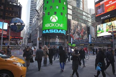 The Xbox One logo is pictured on the NASDAQ building in Times Square in New York