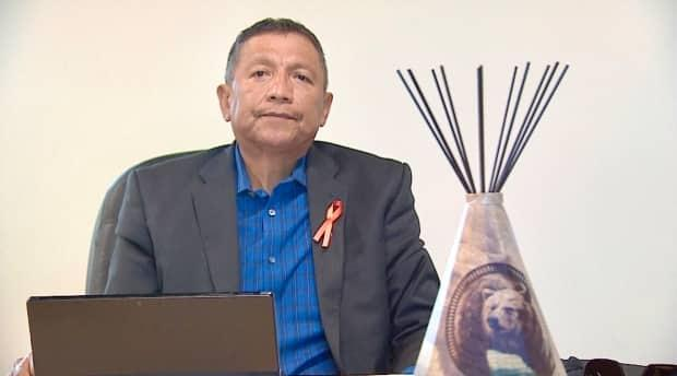 Chief Darcy Dixon of Bearspaw First Nation, which has asked Ottawa for the right to control its own oil and gas royalties and for the return of about $50 million collected from oilpatch activity on its territory. 'We're not asking for handouts,' he says. 'All we're asking is to manage money that belongs to us.' (Kyle Bakx/CBC - image credit)
