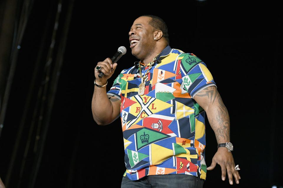 Busta Rhymes wears a colourful shirt while performing onstage at SOMETHING IN THE WATER - Day 2 on April 27, 2019 in Virginia Beach City, Virginia.