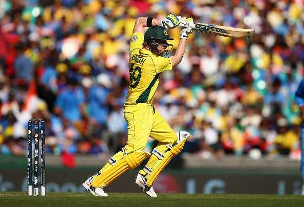 SYDNEY, AUSTRALIA - MARCH 26: Steve Smith of Australia bats during the 2015 Cricket World Cup Semi Final match between Australia and India at Sydney Cricket Ground on March 26, 2015 in Sydney, Australia. (Photo by Ryan Pierse/Getty Images)