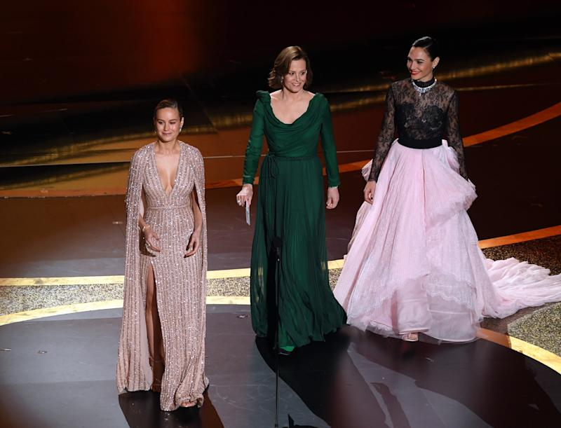 HOLLYWOOD, CALIFORNIA - FEBRUARY 09: (L-R) Brie Larson, Sigourney Weaver, and Gal Gadot walk onstage during the 92nd Annual Academy Awards at Dolby Theatre on February 09, 2020 in Hollywood, California. (Photo by Kevin Winter/Getty Images)