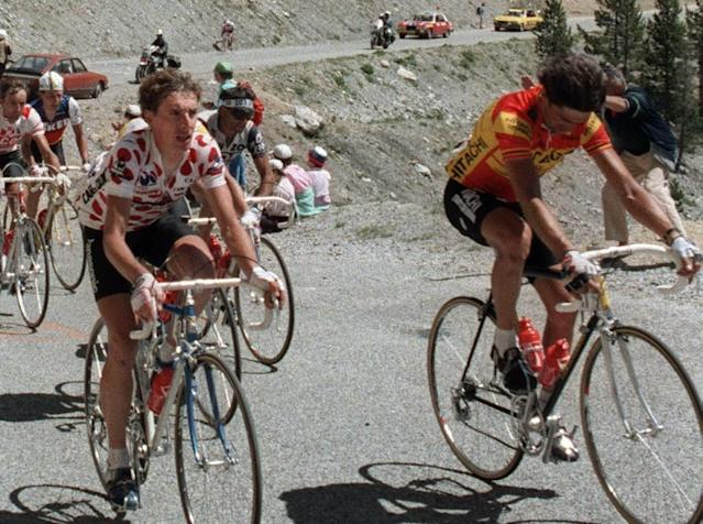 Claude Criquielion (right) and Britain's Robert Millar climb the Col de l'Izoard duringb the 1986 Tour de France (AFP Photo/)