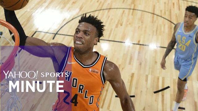 Yahoo Sports Minute recaps top stories including Team World beating Team USA in the Rising Stars game, 155-124, LaMarcus Aldridge and Al Horford reportedly being the last two picks of the NBA All-Star draft and Quavo being named the MVP of the All-Star celebrity game.